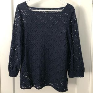 Ann Taylor Factory Navy Lace 3/4 sleeve top